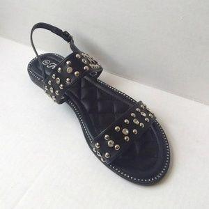 Forever Black & Silver Studded Sandals